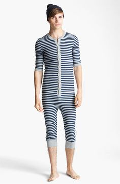 Topman Stripe Button Front Union Suit