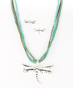 Turquoise & Silver Dragonfly Necklace & Earrings by Pacific Silver
