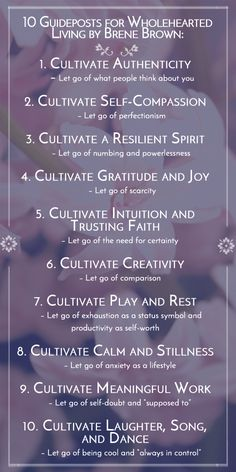 The 10 guideposts we shall follow! I love Brene Brown. Follow these and change your life.