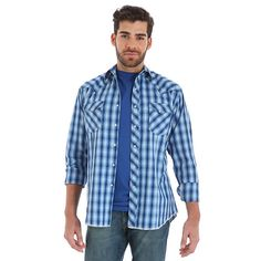 3d6af6885f1 Men s Long Sleeve Fashion Western Snap Plaid Shirt