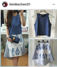 blue skirt with puppet motif Batik Kebaya, Kebaya Dress, Blouse Dress, Blouse Batik, Batik Dress, Amarillis, Friday Outfit, Batik Fashion, Modest Dresses