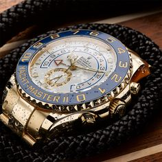 Rolex Yacht-Master II in 18ct yellow gold with a blue Cerachrom bezel insert in ceramic.