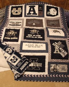 Can't think of a better blanket to have on my bed or bring to football games! Quilting Projects, Sewing Projects, Utah State University, Cool Comforters, Chain Stitch, Dorm Decorations, Graduation Gifts, Quilt Patterns, Shirt Quilts