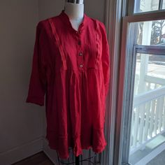 I have a lovely customer in Australia who custom ordered her Aspen shirt in a red linen with 3/4 length sleeves