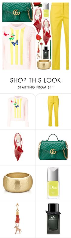 """""""Eating frozen strawberries and waiting for the Spring to come"""" by pastelneon ❤ liked on Polyvore featuring VIVETTA, Emilio Pucci, Gucci, Christian Dior, Chloé, Burberry, NYX and pastelsweaters"""