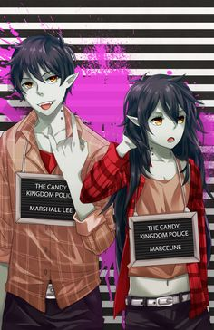adventure time, marshall lee, marceline (btw, i've already pinned this onto my board, but i just wanted these two next to the pin of the candy prince and princess. <3)