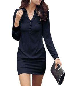 Allegra K Point Collar Button Upper Long Sleeve Mini Dress for Women Black for $12.54  #dress #dresses #women #womensfashion #girls #fashion #casual #dress #cocktail #nightdress #classy #style #fasionforwomen #newdress #nicefashion #dresses #stylish