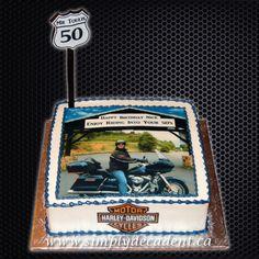 Birthday Edible Image Cake with Customized Photo Image, Road Sign and Harley Davidson Logo. Torta Harley Davidson, Harley Davidson Logo, 65 Birthday, Birthday Stuff, King City, Custom Cakes, Cake Cookies, Cake Pops, Wedding Cakes