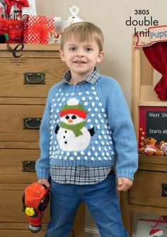 Childrens Christmas jumper pattern Knitted Snowman jumper Sweaters - King Cole Christmas knitting