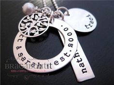 Hand Stamped Mommy Jewelry - Personalized Jewelry - Sterling Silver Necklace - Family Tree Brag. $115.00, via Etsy.