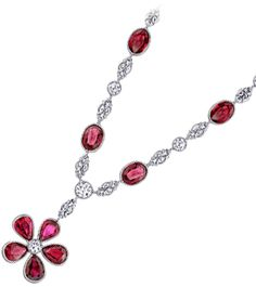 Hand made Platinum chain with diamonds and oval rubies with a ruby flower drop in platinum....I would so wear this to Walmart :)