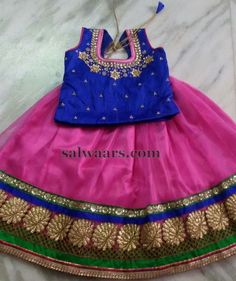 Pink and Blue Kids Lehenga - Indian Dresses