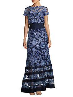 Tadashi Shoji Block Striped Floral Embroidered Gown