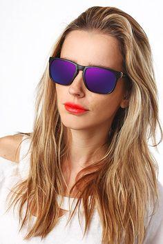 oakley sunglasses unisex  'oakley' unisex color mirror wayfarer sunglasses black/purple 5531 5