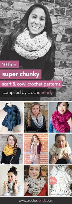 10 Free Super Chunky Scarf 7 Cowl Crochet Patterns  |  via Crochetrendy.com