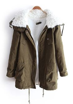 Army Green Lambswool Lapel Thick Polyester Parka Coat