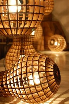 It's a bulb... but not as you know it. This clever lamp is shaped like a giant light bulb and houses a... light bulb. Designed by Suck UK friend Barend Hemmes, it's made from laser cut wood, which leaves a crisp burned edge and creates a satisfying, waffle-like glow.