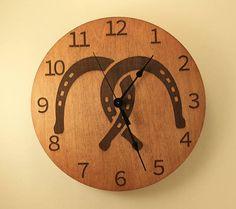 Horseshoe clock Wood clock Wall clock Wooden wall clock Horse