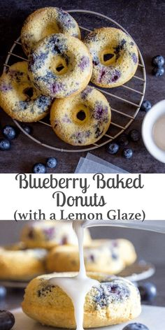 Fast and easy Blueberry Baked Donuts with a simple Lemon Glaze, a healthy homemade delicious snack, dessert or breakfast recipe. #donuts #blueberrydonuts #baked donuts #doughnuts #blueberry