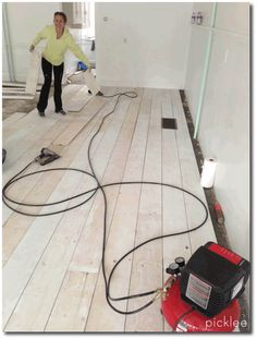 Wood Plank Flooring From PlyWood White Washed, Keywords, Wood Flooring DIY, Inexpensive Wood Flooring, Plank Wood Flooring, Plywood Wood Flooring, Swedish Decorating, Period Style Flooring,
