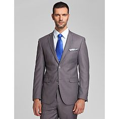 Gray Polyester Tailorde Fit Two-Piece Suit – USD $ 59.99