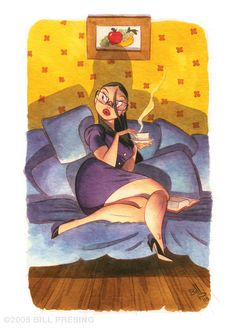 spot illustration, figure, woman, sitting, side, interior, lighting, Tea Time by bpresing