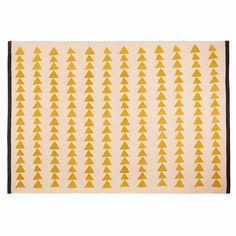 Alfombra de algodón crudo con motivos amarillo 180x120 cm | Maisons du Monde