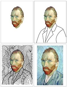 Deluxe Van Gogh Line Art Template · Art Projects for Kids : Here's another line art project, this time with Van Gogh's amazing self portrait. Portraits For Kids, Van Gogh Portraits, Van Gogh Self Portrait, Portrait Art, Line Art Projects, School Art Projects, Van Gogh For Kids, Arte Linear, 8th Grade Art