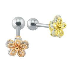 Popular Flower Shaped Stud Earrings  Clear Crystal Ear Cartilage Piercing Women Girl Cute Double Side Earrings Body Jewelry