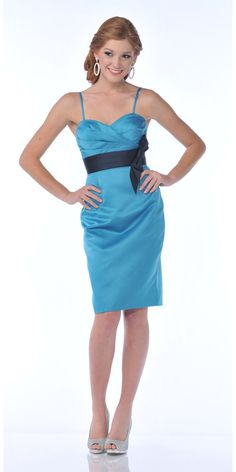 CLEARANCE - Knee Length Teal Blue Satin Dress Sweetheart Neck