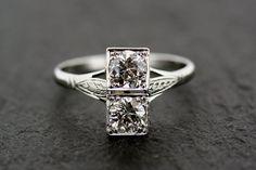 Art Deco Diamond Ring - Antique 18ct White Gold & Platinum Art Deco Diamond Engagement Ring. Almost 1 ctw of old diamonds.