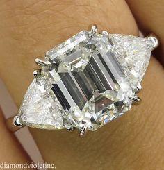 4.36ct Estate Vintage Emerald cut Diamond 3 Stone Engagement