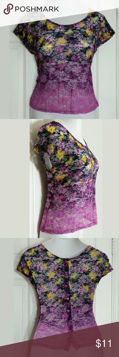 """Mossimo Floral Lace Blouse Beautiful sheer purple, cap sleeve blouse. Has buttons down the back. Bust: 36""""; Length in the back from the shoulder: 19 1/2"""". 91% Nylon, 9% Spandex. Machine washable. Smoke free home. Thanks for shopping my closet ! Mossimo Supply Co Tops Blouses"""