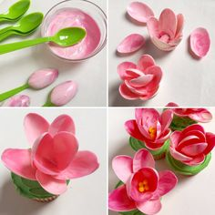 Magnolia Cupcakes - Petals are made from spoons dipped in melted pink candy wafe. - Magnolia Cupcakes – Petals are made from spoons dipped in melted pink candy wafers,yellow sixlets for the centre & green frosted cupcake. By Party Pinching Chocolate Flowers, Pink Chocolate, Modeling Chocolate, Chocolate Cupcakes, Chocolate Fondant, Chocolate Toppers, Chocolate Bowls, Mocha Cupcakes, Chocolate Coating