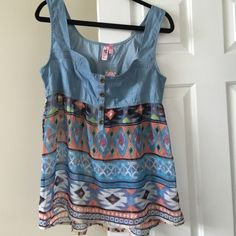 """Aztec Top Jean/Aztec top super cute to wear! The aztec part of the shirt is a sheer material but looks great with a tank underneath, plus it's not that thin. Tag says XL but def fits more like a L. Brand new with tags! Never worn... Laying flat from armpit to armpit measures 19"""" Tops"""