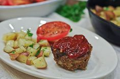 Meatloaf in muffin tins.  I've made this and loved it!
