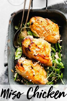 Miso Chicken is roasted in a rich, buttery miso glaze and served with a mixture of sugar snap peas, snow peas and shiitake mushrooms. Miso Chicken, Roasted Chicken Breast, Braised Chicken, Easy Chicken Recipes, Meat Recipes, Healthy Recipes, Dinner Recipes, Game Recipes, Drink Recipes