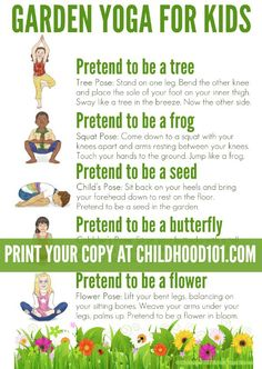 Garden Yoga Printable Poster: Take a walk through nature with this garden themed yoga routine for kids. Suitable for use toddlers to school aged children. Includes a free printable poster to use in the home or classroom.