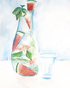 Le goût de l'été 🍉#flavoredwater #watermelon #basil #summertaste #summerspirit#carnetdesophiewatercolor #sketch #sketchbook #watercolor #watercolorsketch #watercolorpainting #artwork #paint #painting #paintings #handpainted #illustration #dailyart #IllustrationNow