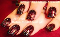 Sexy Nails! Easy Glitter and Stripes Wine Nail Art Design Tutorial