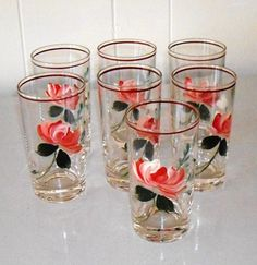 Vintage Hand Painted Glass Tumblers Rose Glasses by designfrills, $38.00