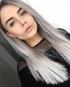 Lace Frontal Gray Wig Black Girl Human Hair Wigs For Black Women Zsf H – papayatal Hair Color And Cut, Ombre Hair Color, Cool Hair Color, Grey Hair Wig, Ash Blonde Hair, Dark Grey Hair, Wig Hairstyles, Hairstyles Videos, Quick Hairstyles