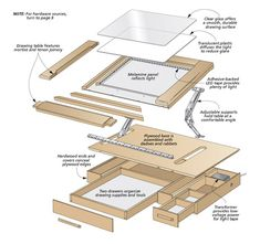 Sketch out your next project on a smooth glass surface that tilts to a comfortable angle. Two drawers corral all your drawing supplies. Woodworking Jig Plans, Woodworking Projects, Woodworking Classes, Wooden Decor, Wooden Diy, Drawing Desk, Drawing Tables, Drawing Art, Art Studio Room