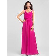 Floor-length+Chiffon+Bridesmaid+Dress+-+Fuchsia+Plus+Sizes+/+Petite+Sheath/Column+Straps+–+USD+$+79.99