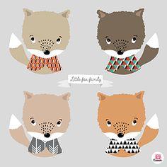 Affiche déco enfant My little fox family Boum badaboum