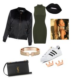 """sexy casual"" by thequeenc128 on Polyvore featuring adidas, Glamorous, Yves Saint Laurent, Lime Crime and Mminimal"