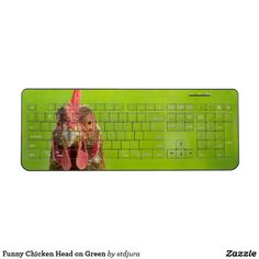 Shop Funny Chicken Head on Green Wireless Keyboard created by stdjura. Funny Chicken, Chicken Humor, Funny Photography, Green Backgrounds, Keyboard, Products