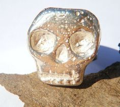 Mens Sterling Silver Skull Ring - Lugdun Artisans by MMS Artisan Designs