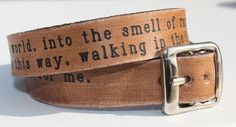 """I love and ordered this wrist strap, from Story People: """"I carry you with me into the world, into the smell of rain & the words that dance between people & for me, it will always be this way, walking in the light, remembering being alive together."""" ~Brian Andreas"""