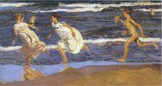 '`running` a lo largo del playa', óleo sobre lienzo de Joaquin Sorolla Y Bastida (1863-1923, Spain)